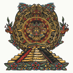 Aztec sun stone and pyramids Chichen Itzá and Kukulkan god (Feathered serpent). Tattoo and t-shirt design. Mayan calendar and ancient glyphs. Quetzalcoatl. Mesoamerican mexico mythology and culture