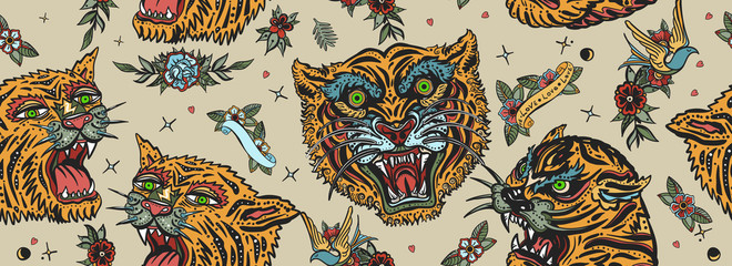 Tigers seamless pattern. Old school tattoo. Asian wild cats heads. Traditional tattooing, japan art style Wall mural