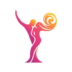 Colored silhouette of a dancing couple in the vector. Logo for dance Studio in bright color, orange, pink, yellow, red. Latino, ballroom dancing. Label, sign, sticker.