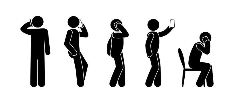 stick figure man illustration, talking on the phone icon, isolated symbols