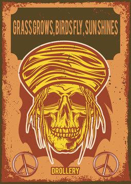 Poster design with illustration of a rasta's skull