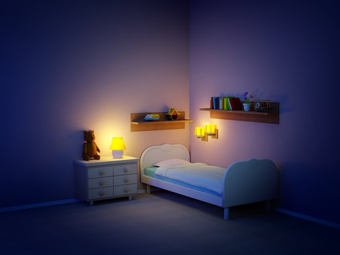 baby room with bed and night lamps