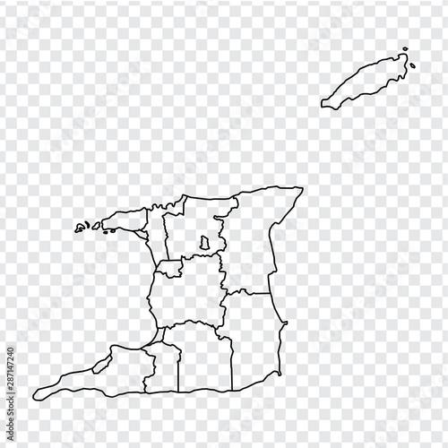 Blank map Trinidad and Tobago. High quality map of Trinidad ...