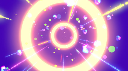 Purple neon geometric world with glowing icosahedrons, dots, stars, particles, rings, and light streaks effects. 3d rendering.