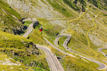 Transfagaras mountain road landscape in the mountains of Romania, August 9, 2019