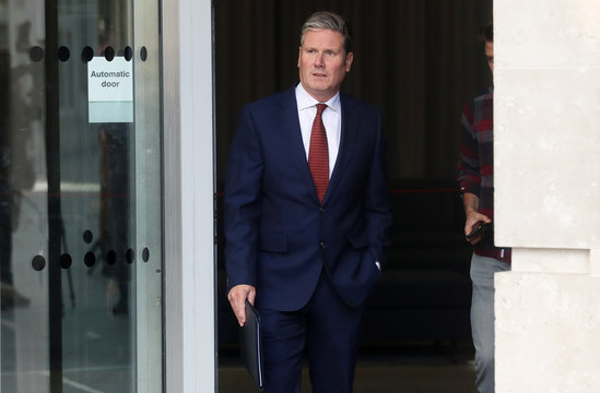 Labour Party's Shadow Secretary of State for Brexit Keir Starmer leaves the BBC Headquarters after appearing on The Andrew Marr show in London