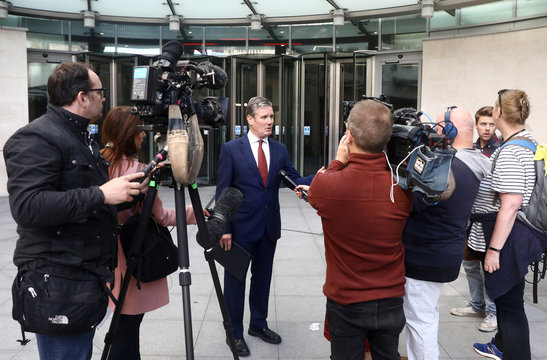 Labour Party's Shadow Secretary of State for Brexit Keir Starmer speaks to the media as he leaves the BBC Headquarters after appearing on The Andrew Marr show in London