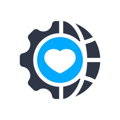 Consulting in business, assistance, business optimization, customer support, customer service icon with heart sign, favorite, like, love, care symbol