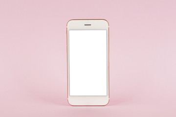 Mobile phone mock up on pink pastel background, technology and busiess concept