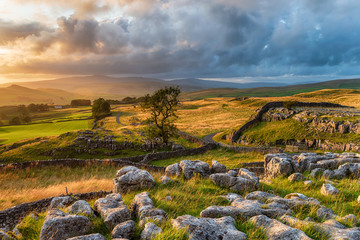 Wall Mural - Sunset at the Winskill Stones near Settle in the Yorkshire Dales National Park