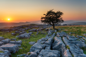Beautiful sunset at the Winskill Stones