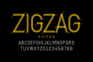 Zigzag stitch style font design, embroidery alphabet, letters and numbers