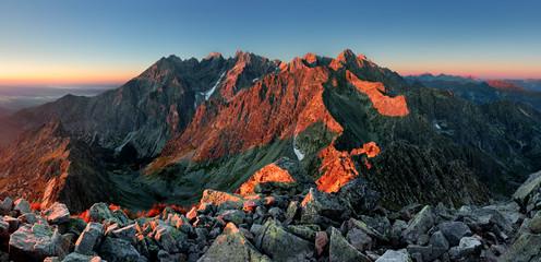 Mountain landscape in Slovakia tatras at sunset