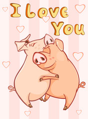 In de dag Babykamer Happy Birthday Card Little Pig with Gift Pie. Vector Greeting Card. Happy Moment. Congratulation