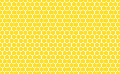 Abstract honeycomb repeated pattern in golden yellow. Geometric background or seamless pattern inspiration of hexagons, prismatic cells similar to beeswax frames or hive frames built by honey bees.