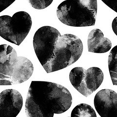 Seamless watercolor pattern with black hearts. Valentines Day background