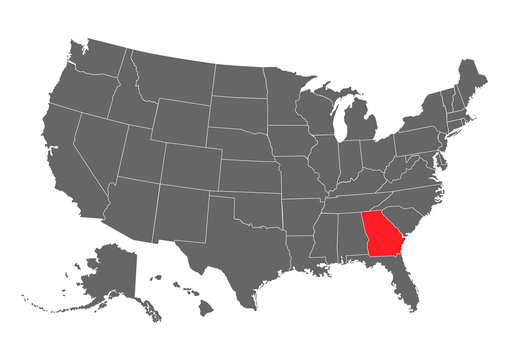 Georgia vector map silhouette. High detailed illustration. United state of America country