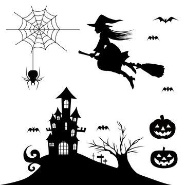 ハロウィン・シルエット素材・魔女・かぼちゃ・お城・木・お化け屋敷のイラスト