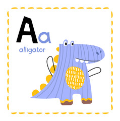 Letter A. Funny Alphabet for young children. Learning English for kids concept with a font in black capital letters in vector