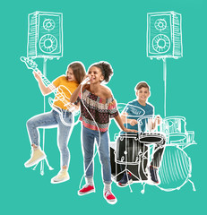 Teenage musicians with drawing instruments playing against color background
