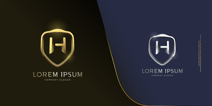 set of shiny 3d metallic gold and silver shield icon, initial letter H monogram custom logo template