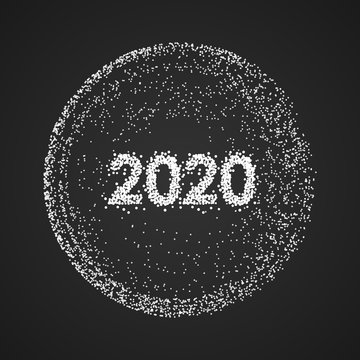 Abstract 2020 new year mesh background. Futuristic style card. Elegant dots background for business presentations. Vector illustration
