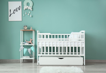 Wall Mural - Interior of modern baby room with crib
