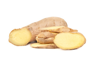 Ginger root with slices