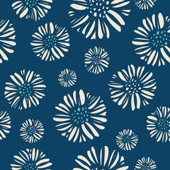 Daisy print floral seamless pattern with a sophisticated style and dusky blue color palette. Perfect for spring or summer; great for textiles, paper, stationery and home decor. Vector.