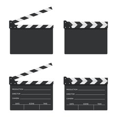 Set of blank movie clapper board icon in flat style. Movie, cinema, film symbol concept. Director clapboard. Filmmaking device.