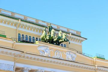 Saint-Petersburg, Russia. Quadriga Apollo in Alexandrinsky..Russian State Academic Drama Theater. A.S. Pushkin