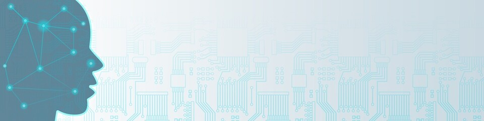 i4b130 Industrie4Banner i4b - german banner - KI: Künstliche Intelligenz / unscharfes Abbild - english: blurred image / ai: artificial intelligence / android robot thinking - 4to1 g8498