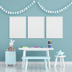 Three empty photo frame for mockup in child room, 3D rendering