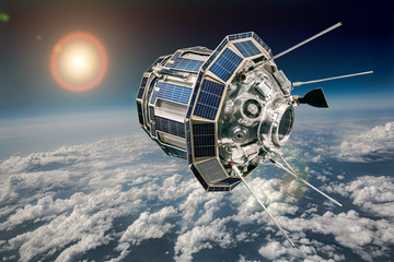 Fotobehang Nasa Space satellite over the planet earth