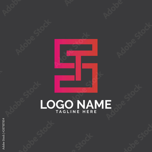 St Letter Logo Design Stock Image And Royalty Free Vector