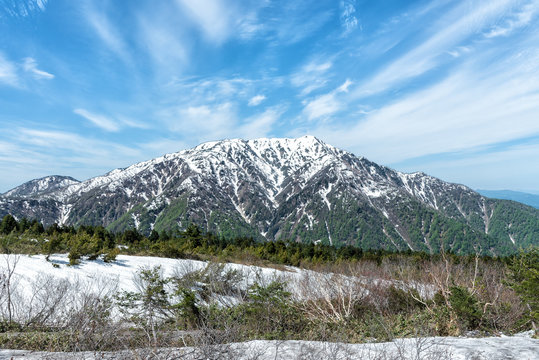 Winter snow covered mountain peaks in Northern Japan Alps.