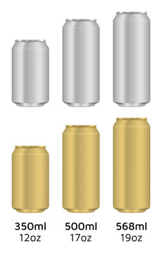 Empty can. Aluminum and gold colors. 350ml, 500ml and 568ml.