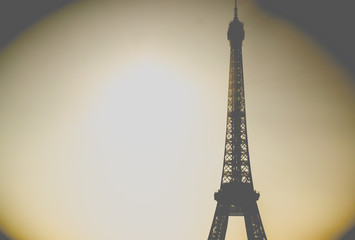 Vintage picture of the eiffel tower.