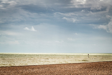 Sky, sea and beach. A tranquil image of the English Channel off the coast of England.
