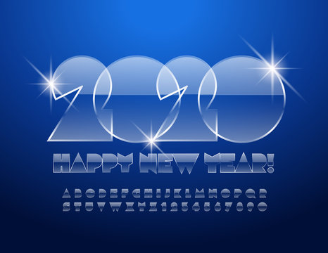 Vector chic Greeting Card Happy New Year 2020. Magical Glass Font. Stylish Alphabet set of Letters and Numbers.