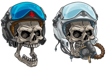 Cartoon detailed realistic colorful scary human skulls in modern aviator pilot protective helmet with open glass visor and air mask. Isolated on white background. Vector icon set.