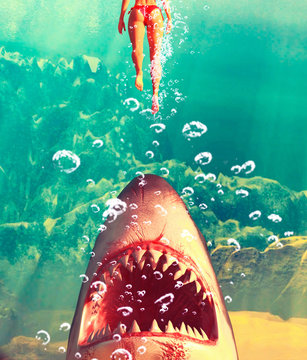 Great white shark attack,3d illustration for book illustration or book cover