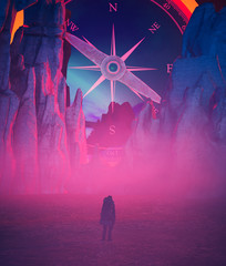 Direction of life,Person looking at giant compass on the mountain,conceptual images,3d illustration