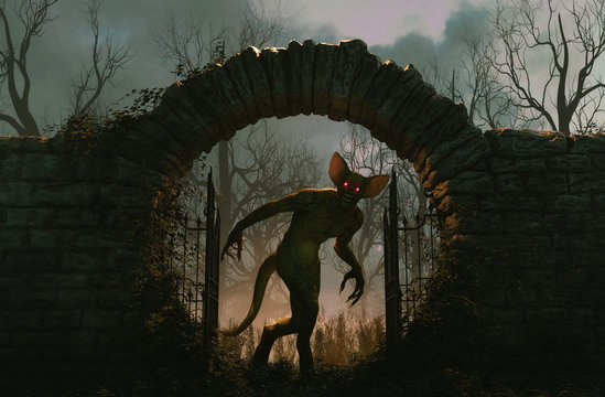 The gates is open and monster is releasing,Halloween scene,3d illustration
