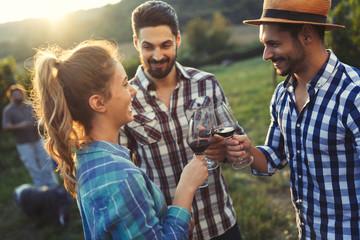 Picture of people tasting red wine in vineyard