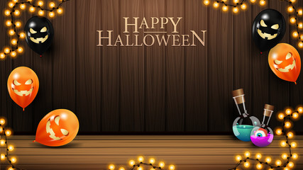 Happy Halloween, horizontal greeting banner with wood wall and Halloween balloons. Halloween template for your arts Fototapete