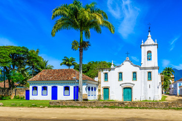 Fotomurales - Historical center of Paraty, Rio de Janeiro, Brazil. Paraty is a preserved Portuguese colonial and Brazilian Imperial municipality