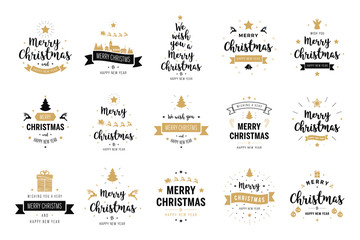 Wall Mural - Merry Christmas. Happy New Year, typography lettering badge emblems quotes set collection. Vector logo design for postcard, invitation, greeting card,  poster