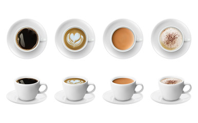 3d realistic different sorts of coffee in white cups view from the top and side. Cappuccino latte americano espresso cocoa in realistic cups.