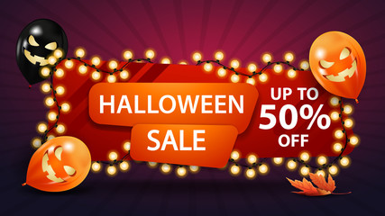 Halloween sale, up to 50% off, discount banner with a yellow garland wound around a banner and Halloween balloons. Red horizontal discount template. Fototapete